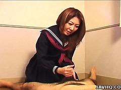 Hawt Nanako Hatsushima kinky cook jerking
