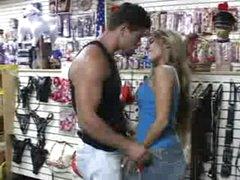 Blowjob in sex shop