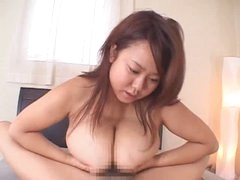 Titjob from bulky Japanese hotty makes him cum