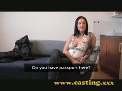 Casting Nice natural breasts receive sprayed