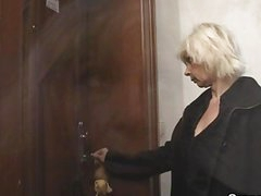 Blonde granny allows him drill her love tunnel