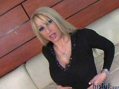 Candy Manson is a long legged blonde with a pierced clit and a fantastic rack