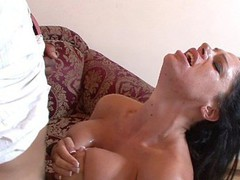 Angela Aspen uses her enormous love bubbles to titty fuck her stud partner here, getting on her knees and blowing his schlong until the load is popping right onto her tongue.  This Babe desperately wants to smack that sweet cream and works it to the finish.