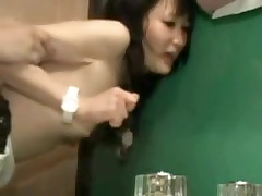 It is a constricted fit in this bathroom, and a constricted fit in her pussy.  But this couple manages to fuck in several different positions, and lastly he leaves his hot cum inside her, a nice creampie for us to see.