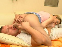 Perverted guy pleasuring his sex fever during the time that tongue-tickling babe