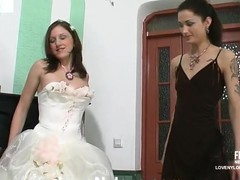 Sexy bride in white nylons savoring strap-on amusement for the last time