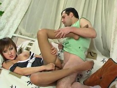 Pantyhosed chick savoring cum-hole-cramming as a award for a proper footjob