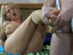 Seductive blondie smoothing her nylon tights aching for morning foot sex