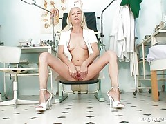 Because she is all alone in the office and has nothing to do, this gilf nurse gets horny and starts playing with her cunt. She takes a sit and spreads her long legs and then her pussy lips. Look at that tight pink cunt, would you like to see some hot jizz on it? Well, if she's going to be even more naughty maybe she will get some