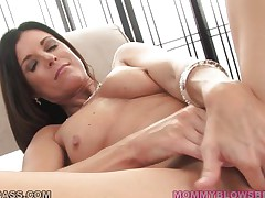 Nothing compares with a hot mommy that has long dark hair, cute tits, sexy long legs and a wide cum asking mouth. This horny mom gets down on her knees and quickly starts to suck that big hard dick, deepthroating it like an experienced lady. Will she receive some semen on her long dark hair or in her sexy mouth?