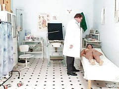 Naked Aged lady with large tits visits the doctor for her bawdy cleft examination. She is ordered to lay on the patient's couch doctor examines her stomach and then wears his gloves and tells her to spread her legs so that her snatch can be tested. Doctor examines it and then checks her a-hole and ask her if that babe had anal sex ever that babe replied with no.