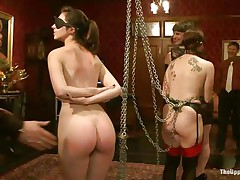 She's young, with a delicious booty, pink lips and small cute tits. Meet Kristine, a sexy chick that awaits her treatment. Milf Bella approaches her with a strap on around her mouth and fucks Kristine's young wet pussy deeply. These whores are sex slaves and they like it that way. It's freaky!