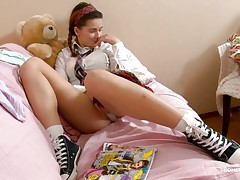 Here young babe Klara is entertaining her viewers by showing her nice, smooth and attractive body with sexy boobs and cherry like hard nipples on the top of those. Then her lust increases and her panties automatically goes off and a appealing pussy fingering is taking place which will make you horny.