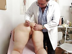 Yvonne is at gynecologist completely naked and waits for the doctor to examine her body. She's a bit chubby but that means there's a lot more to love as the doctor carefully and gently inserts a medical tool in her hot shaved anus and then he gapes her shaved vagina looking inside her pink pussy, that cunt is perfect for a hard dick and maybe the doc will give her some fucking therapy.