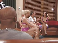 The couples gathered together in a room and the men sit quietly as their wife talked about sex and how they should fuck. A fat Chinese prick is being interviewed and his opinion is that this stuff is just like dating. Well now, let's leave them to talk as we enjoy how those naughty blonde cunts have some fun.