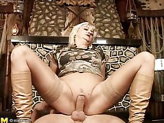 They say older women are beautiful lovers, and this is one mature woman! She loves getting boned, riding her stud's meat just as good as any young slut could do if not better. She gets her pussy pounded before laying on her back and her man getting between her, drilling her well-aged cunt.