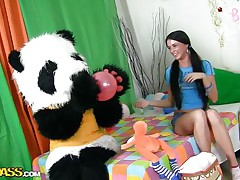A sweet girl's party can't be complete without her panda bear. Sweet Jess doesn't needs presents or her friends, that babe only wants her large fluffy panda and his attention. They have great fun, playing with balloons and eating cake. But that is not enough, Jess is a large gal now and that babe want Panda to make her feel that.