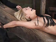 There's nothing more beautiful then seeing a big boobs blonde tied up and with her pussy stuffed. This luscious blonde is receiving all the pain, pleasure and humiliation she deserves as the executor, fascinated with her body, does his job flawless. Wanna see what else he has prepared for her shaved cunt?