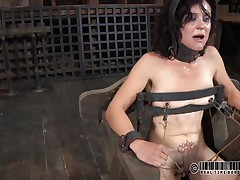 That chair is ideal for miss James. She's naked, strapped on it and a bit terrified with what's about to happen. The executor gapes her cunt using metal clamps and some kind of sex-toy is filling her womb. The lovely brunette endures her punishment and step by step she learns to like it!