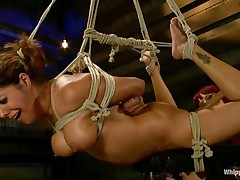 Francesca Le is a sexy milf who's bound and getting vibed and dildo-fucked by Maitresse Madeline. Francesca gets permission to cum and she does. Next the position changes and Maitresse gets the strapon and plunges deep into Francesca's tight asshole, making her moan loudly through her ball gag.