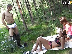 Here we have two slutty chicks, Madelyn and Grace that are just spending some quality time in nature with this favourable guy. The wilderness of the forest is making the bitches damn excited so the man just complies and gives these lustful girls his hard cock. They go wild and begin sucking his dick with a lot of craving