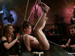 She was a very bad girl and the public is determined to give her a disgraceful punishment. Look how this babe hangs there tied up and with her cunt on display, expecting to get fucked hard and deep. Her wait is soon over as a man inserts his vertical penis unfathomable in her delicious vagina, wonder if he will cum in her?
