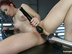 Young Melody Jordan is loving this fucking machine and a vibrator for her clit. Her pussy takes a pounding as she turns the dial up, making the machine fuck her even faster. After a short break, she goes nearly upside down to get drilled, her shaved snatch taking a beating that she loves. She's hot!
