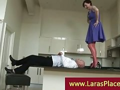 Liciking pussy over the balcony kitchen by a horny bold lad