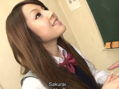 Hawt brunette hair student Ria Sakurai gets exposed for school principal after the classes and gets her slit stimulated by vibrator in advance of that babe gives head to him and other professors on her knees and getting banged hardcore in group sex session on the desk