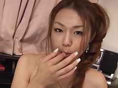 Breasty Oriental gal with curly cunt feels dick and twat in gap