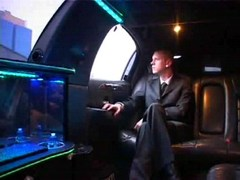 Sexy gay encounter in driving limo