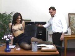 Girl in pantyhose plugged with big chunky cock