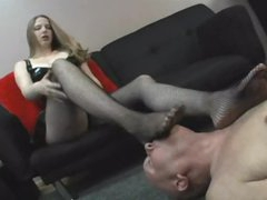 Dominant girl desires him to take up with the tongue her feet