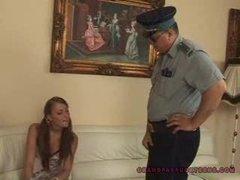 Grandpa cop fucks teen