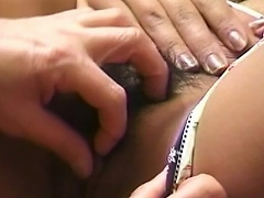 Gorgeous asian doxy on sexy undies lets her slit get licked by her...