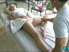 Slutty sweetheart massaged & pounded