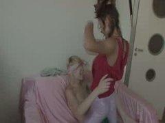 lesbos fucking with belt vibrator