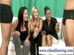 Lascivious cfnm girls putting schlongs to the test