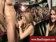 CFNM dicksucking stripper party