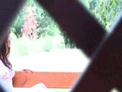 Horny czechian sweetheart jerking on the bench