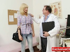 Blonde paris visits wicked old gyno doctor to have her cum-hole examined