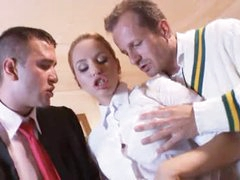 Prep school girl fucked by country club lads