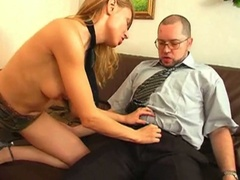 Blonde seduces her boss and fucks him
